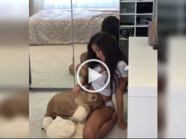Lion Cub Shows His Love For This Hot Model In an Original Way