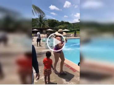 Sliding Down a Pool From Side to Side! His Reaction is Priceless!